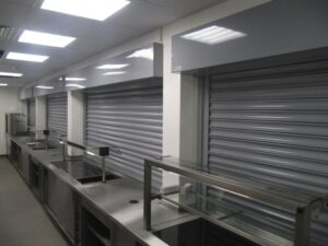 RSFS1 Fire Shutters installed in a Canteen