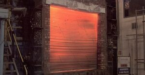 75mm vertical Fire Shutter closed automatically during tests for a fire resistant barrier
